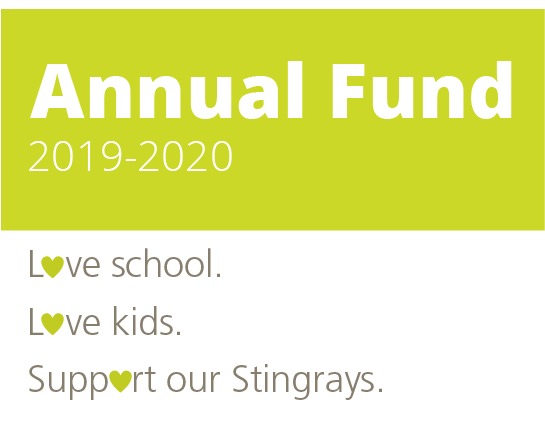 Sand Hill School Annual Fund 2019-2020. Love school. Love kids. Support our Stingrays.