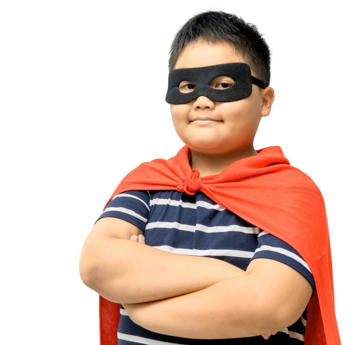 Young boy in superhero costume